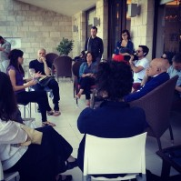 Getting a briefing from activist @munahasan before walking into Jerusalem.