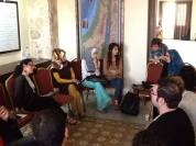 Susan Abulhawa discussing the Palestinian Novel with young writers in Gaza.